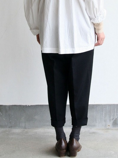 Roll collar gather blouse medium/Big tapered pants 4
