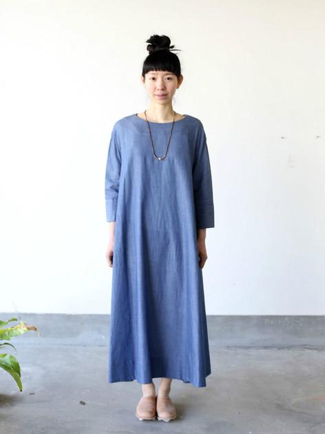 Big tuck dress~cotton ramie twill dungaree 5