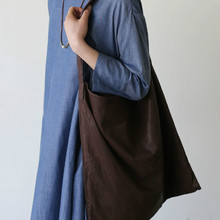Big tuck dress~cotton ramie twill dungaree
