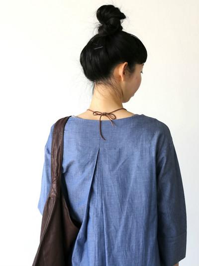 Big tuck dress~cotton ramie twill dungaree 3