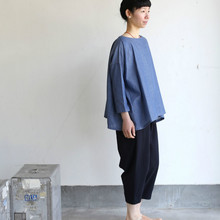 Tent line blouse~cotton ramie twill dungaree