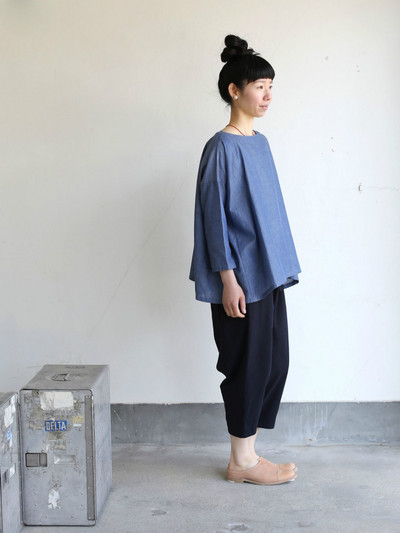 Tent line blouse~cotton ramie twill dungaree 1