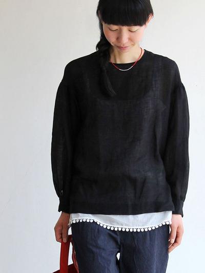 Round cuff blouse~linen/ Dart camisole 1