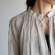 String gather blouse/ Tapered pants