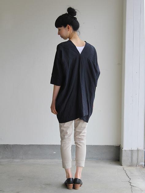 V-neck big tunic short/Woven leggins short 5