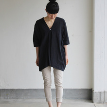 V-neck big tunic short/Woven leggins short