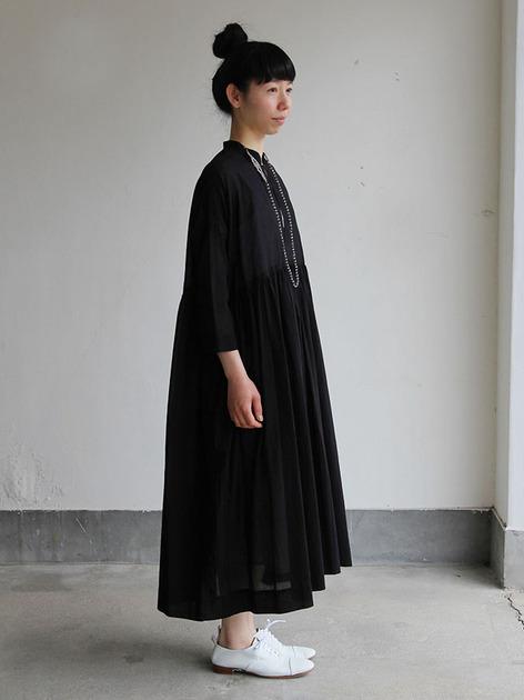 Gather bottom big dress~fine lawn washer(black) 3