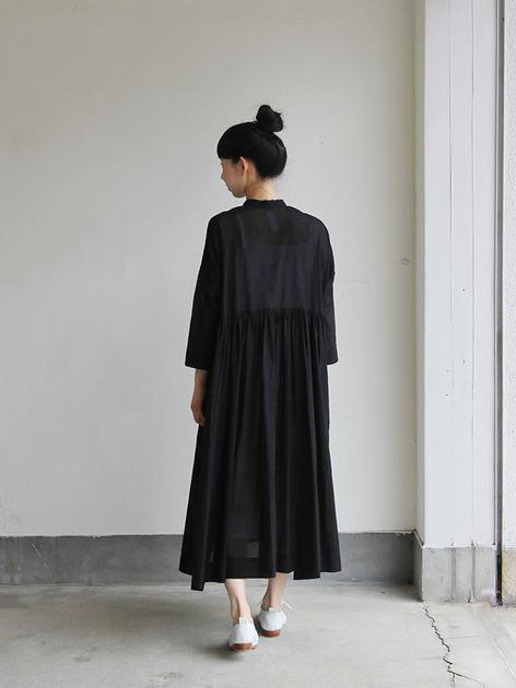 Gather bottom big dress~fine lawn washer(black) 5