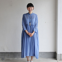 Gather bottom big dress~yarn dyed fine lawn(blue)