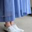 Gather bottom big dress~yarn dyed fine lawn(blue) 3