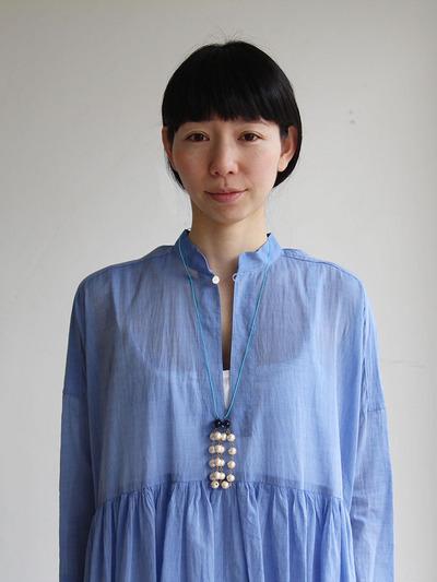 Gather bottom big dress~yarn dyed fine lawn(blue) 4