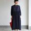 Gather bottom big dress~fine lawn washer(navy) 2