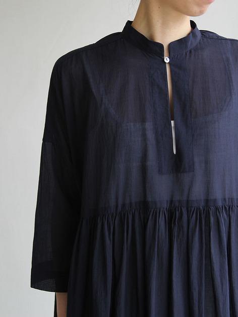 Gather bottom big dress~fine lawn washer(navy) 3