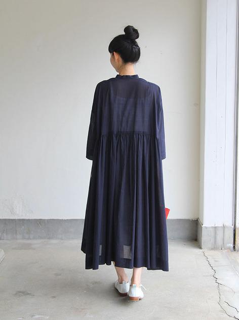 Gather bottom big dress~fine lawn washer(navy) 5
