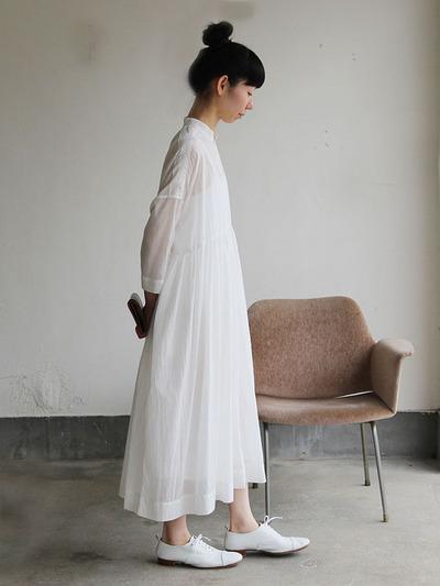 Gather bottom big dress~fine lawn washer(white) 3