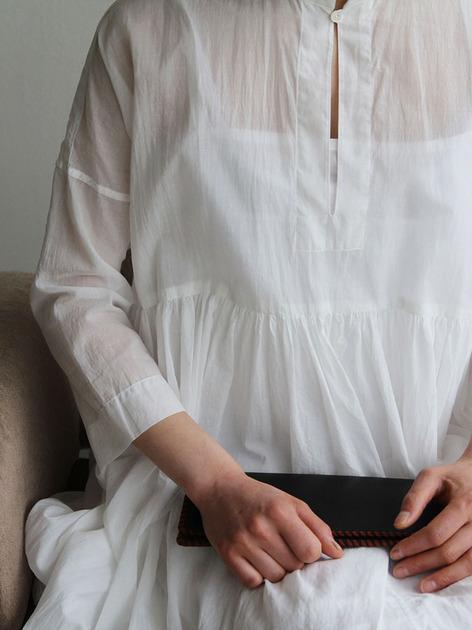 Gather bottom big dress~fine lawn washer(white) 4