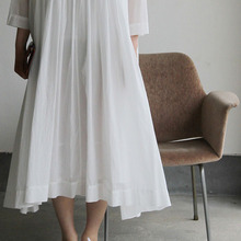 Gather bottom big dress~fine lawn washer(white)