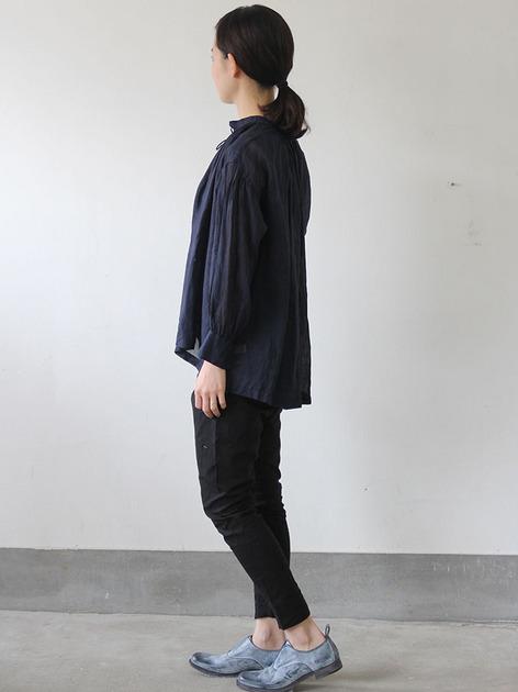 String gather blouse short~ramie 3