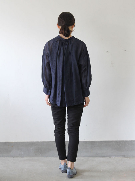 String gather blouse short~ramie 4