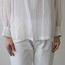 String gather blouse short~ramie