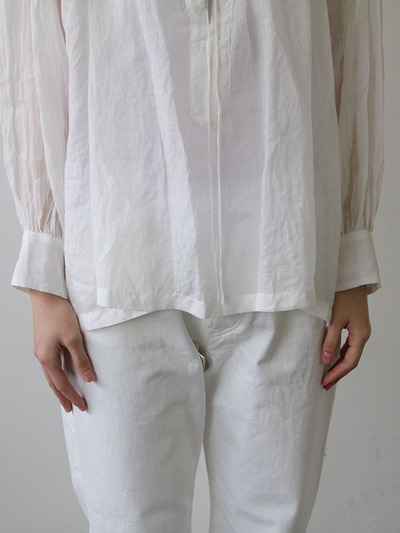 String gather blouse short~ramie 1