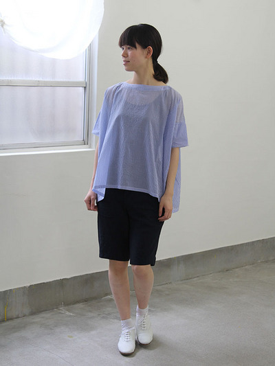 Short sleeve tent line blouse~cotton/Short Chinos 2