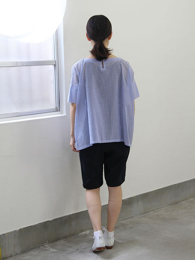Short sleeve tent line blouse~cotton/Short Chinos 3