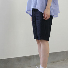 Short sleeve tent line blouse~cotton/Short Chinos