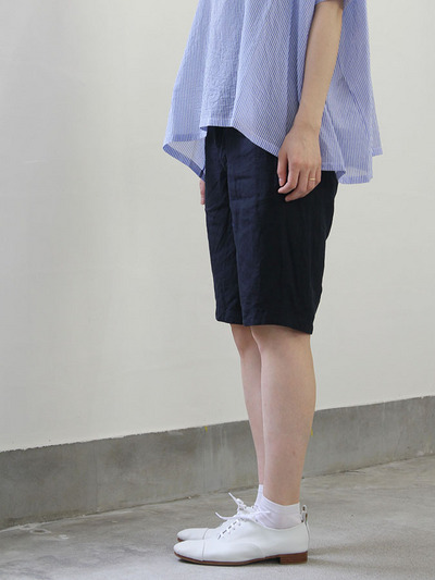Short sleeve tent line blouse~cotton/Short Chinos 1