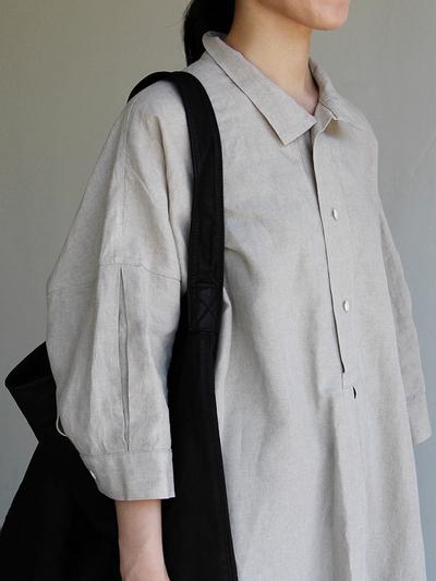 Stand collar big tunic dress/Woven leggins short 1