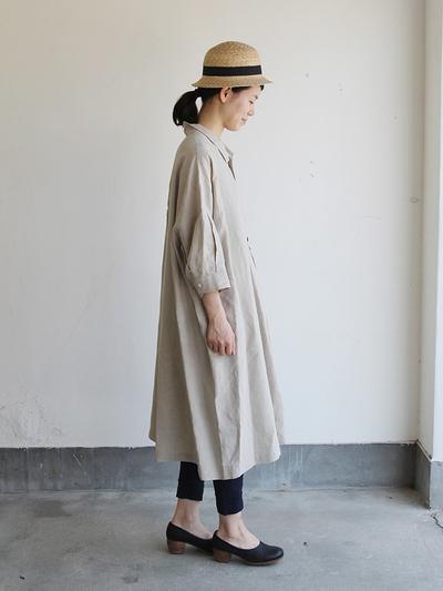 Stand collar big tunic dress/Woven leggins short 3