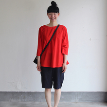 Big tuck blouse / Short Chinos