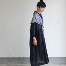 Triangle shawl / Gather bottom big dress~fine lawn washer(navy)