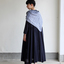 Triangle shawl / Gather bottom big dress~fine lawn washer(navy) 3