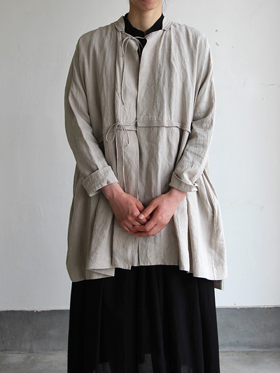 Tuck braid jacket / Gather bottom big dress~fine lawn washer(navy) 1