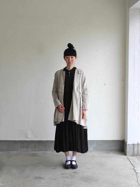 Tuck braid jacket / Gather bottom big dress~fine lawn washer(navy) 2