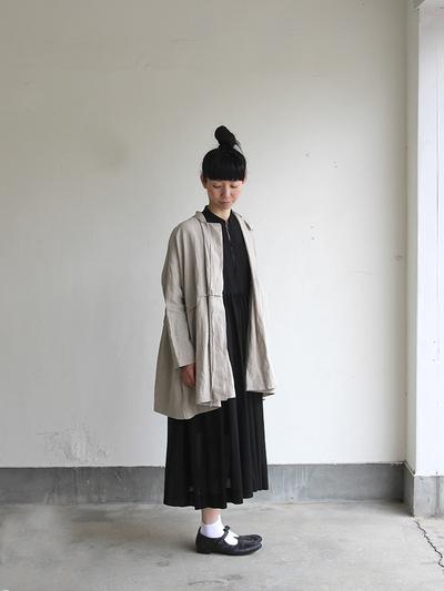 Tuck braid jacket / Gather bottom big dress~fine lawn washer(navy) 3