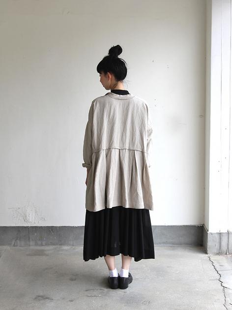 Tuck braid jacket / Gather bottom big dress~fine lawn washer(navy) 4