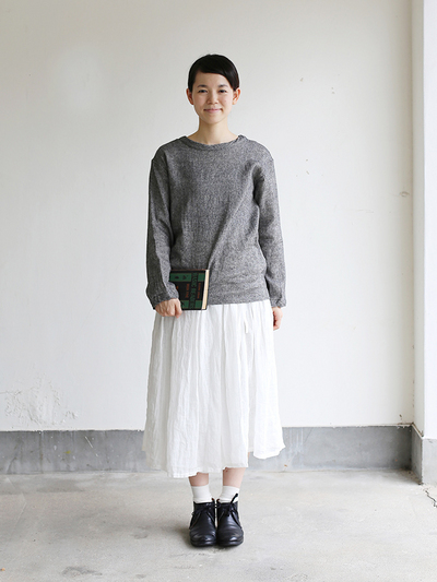 Long sleeve big T-shirt~wool linen gauze 2