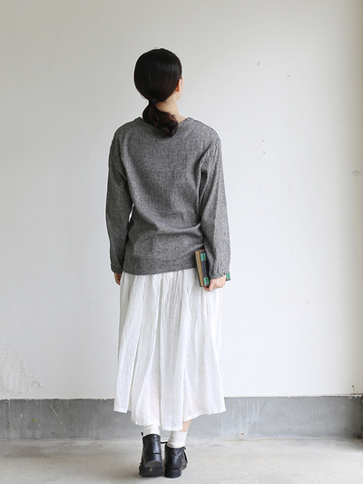 Long sleeve big T-shirt~wool linen gauze 4