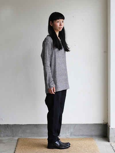Long sleeve big tee~navy border / Back gum sarrouel pants / Cukka bootsⅡ   3