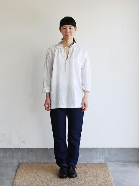 Skinny string gather blouse / SP slim 5pocket pants  2