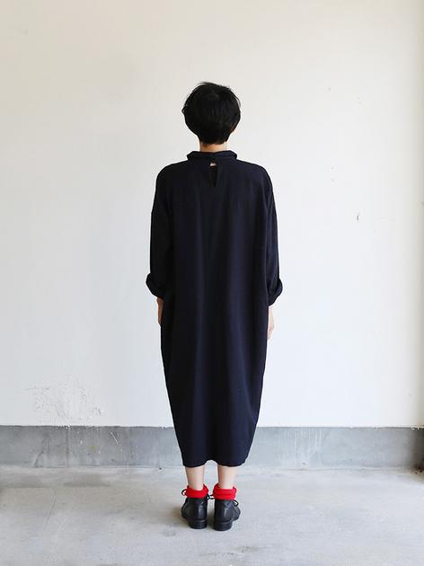 Mini collar slip on dress~wool silk rain stripe 4