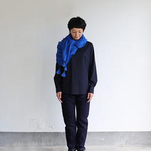 Shoulder button blouse / SP slim 5pocket pants