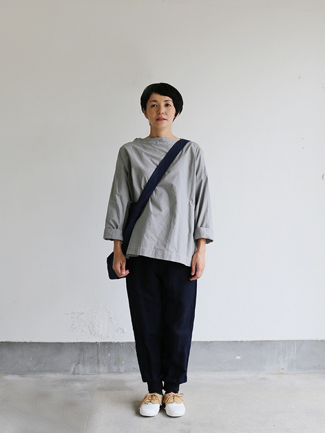 Stand collar box shirt~clove gray 2