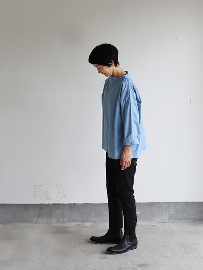 Stand collar box shirt~gardenia blue 3