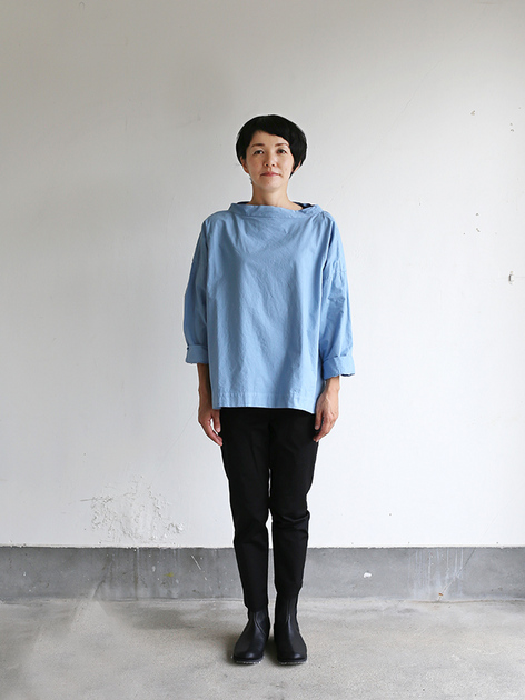 Stand collar box shirt~gardenia blue 2