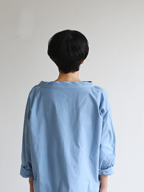 Stand collar box shirt~gardenia blue 4