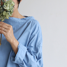 Stand collar box shirt~gardenia blue
