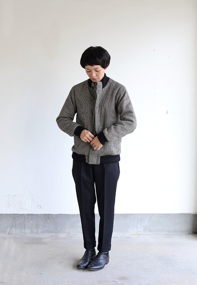 Fly front blouson~hound's tooth check rever 3